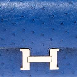 Hermes Blue Sapphire Ostrich Rose Gold Hardware Constance Long Wallet