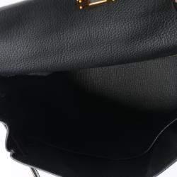 Hermes Black Togo Leather Niloticus Crocodile Kelly Retourne 28 Bag