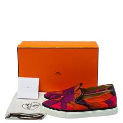 Hermes Multicolor Leather And Canvas Kick Slip-On Sneakers Size 38
