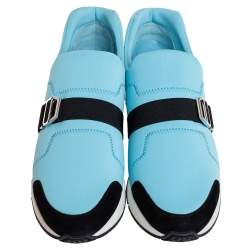 Hermes Blue/Black Neoprene And Suede Run Round Toe Sneakers Size 39
