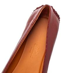 Hermes Brown Patent Leather Liberty Ballet Flats Size 40
