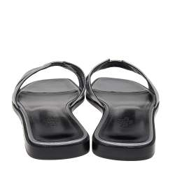 Hermes Metallic Silver Leather Oran Flat Sandals Size 38