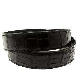 Hermes Black Porosus Crocodile Leather Belt Strap 85cm