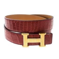 Hermes Brown Porosus Crocodile Gold Grooved Finished H Buckle Belt 85cm