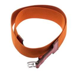 Hermes Orange Nylon and Leather Belt Size 90 CM