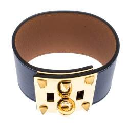 Hermes Kelly Dog Extreme Blue Leather Gold Plated Wide Bracelet S