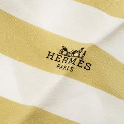 Hermes Yellow and White Stripe Printed Silk Diamond Scarf