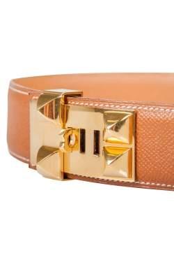 Hermes Brown Courchevel Leather Collier De Chien Belt 60CM
