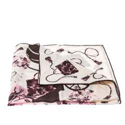 Hermes Cream, Pink & Brown Printed Silk Kelly en Caleche Scarf