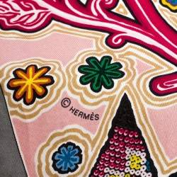 Hermes Light Pink L'Arbre Du Vent Print Silk Square Scarf