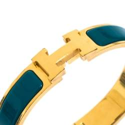 Hermes Clic H Blue Enamel Gold Plated Narrow Bracelet PM