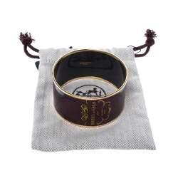 Hermes Brides De Gala Tattoo Printed Enamel Extra Wide Bangle Bracelet