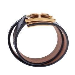 Hermes Drag Double Tour Black Leather Gold Plated Wrap Bracelet