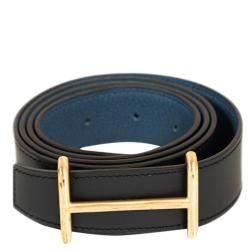 Hermes Black/Blue Leather Idem Reversible Belt 95CM