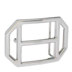 Hermes Silver Metal Tone H Hexagonal Buckle