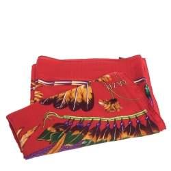 Hermes Red Brazil Print Cashmere & Silk Giant Shawl