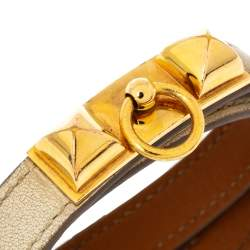 Hermès Rivale Double Tour White Leather Gold Plated Bracelet