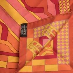 Hermes Orange Steeple Chase Print Silk Scarf