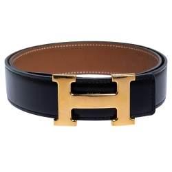 Hermes Black/Brown Leather Constance Reversible Buckle Belt 80CM