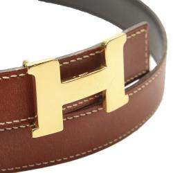 Hermes Brown Calf Leather Constance Belt