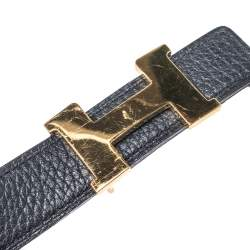 Hermes Black Leather Constance Buckle Belt 130CM