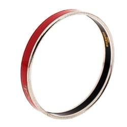 Hermès Red Enamel Calèche Narrow Bangle Bracelet