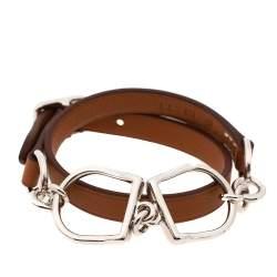 Hermès Brown Leather Etrier Double Tour Bracelet T1