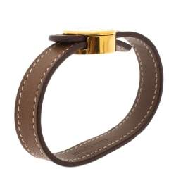 Hermes Brown Leather Looping Gold Plated Bracelet M