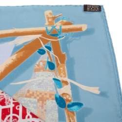 Hermès Blue Le Robinson Chic Silk Scarf