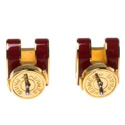 Hermes Pop H Red Lacquered Gold Plated Stud Earrings