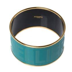 Hermes Bleu Maldives Enamel Extra Wide Sellier Bangle Bracelet