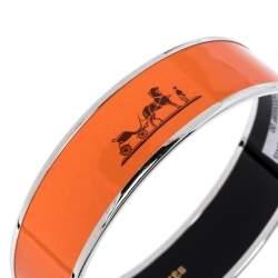Hermès Calèche Enamel Palladium Plated Wide Bangle Bracelet