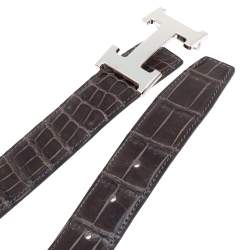 Hermes Dark Brown Crocodile Constance H Buckle Belt 90CM