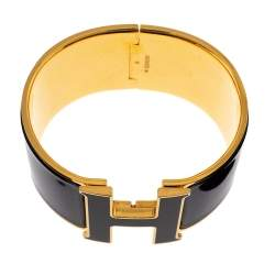 Hermes Clic Clac H Black Enamel Gold Plated Extra Wide Bracelet GM