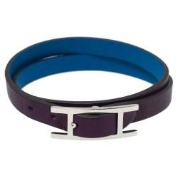 Hermès Blue/Purple Leather Behapi Double Tour Bracelet M