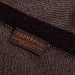 Hermès Mustard Yellow & Grey Cashmere Silk Stole