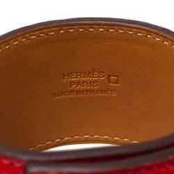 Hermès Collier de Chien Red Alligator Leather Gold Plated Cuff Bracelet S