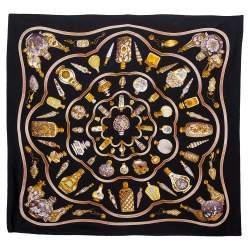 Hermes Black Qu'importe le Facon Silk Scarf