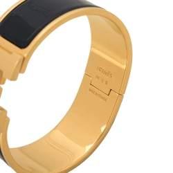 Hermes Clic Clac H Blue Enamel Gold Plated Bracelet PM