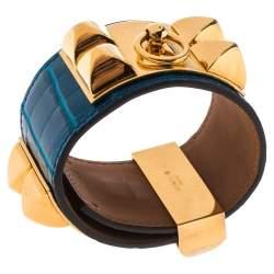 Hermès Blue Alligator Leather Collier de Chien Cuff Bracelet S