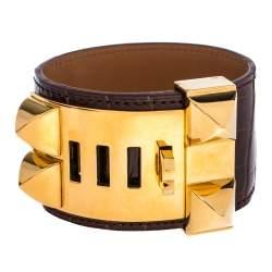 Hermès Brown Alligator Leather Collier de Chien Cuff Bracelet S