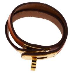 Hermes Kelly Double Tour Orange Leather Gold Plated Wrap Bracelet XS