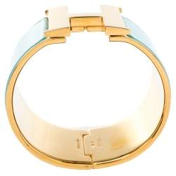 Hermès Clic Clac H Mint Green Enamel Gold Plated Extra Wide Bracelet PM