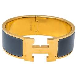Hermès Clic Clac H Grey Enamel Gold Plated Wide Bracelet PM