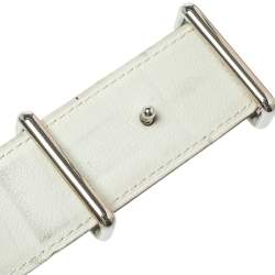 Hermes Green/White Leather Idem Reversible Belt Size 95 CM