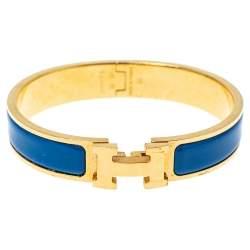 Hermes Clic H Blue Enamel Gold Plated Narrow Bracelet GM