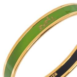 Hermès Calèche Green Enamel Gold Plated Narrow Bangle Bracelet