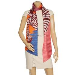 Hermès Multicolor Zebra Pegasus Silk Maxi Twilly
