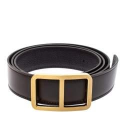 Hermes Chocolat Leather Reversible Domino Belt 100 CM