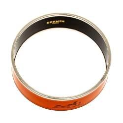 Hermès Orange Enamel Calèche Wide Bangle Bracelet